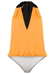 Andrea Marques V Neck Bodysuit Yellow And Orange