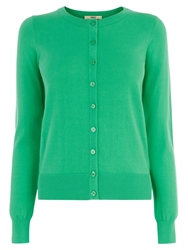 Oasis Crew Neck Cardigan Mid Green
