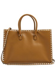 Valentino Rockstud Leather Tote Tan