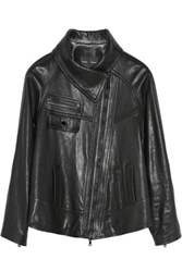 Proenza Schouler Funnel Collar Leather Jacket Black