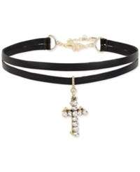 Betsey Johnson Two Tone Crystal Black Faux Leather Choker Necklace