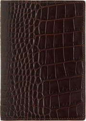Smythson Mara Croc Stamped Passport Cover Brown