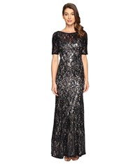 Adrianna Papell Short Sleeve Sequin Lace Mermaid Gown Midnight Nude Women's Dress Black