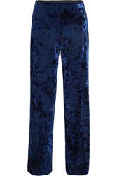 Tibi Stretch Velvet Wide Leg Pants Navy