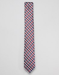 Ben Sherman Silk House Checked Tie Red