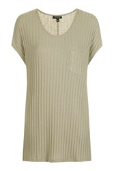 Topshop Rib Pocket Tunic Oatmeal