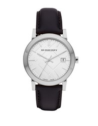 Burberry Stainless Steel And Leather Strap Watch Bu9008 Black