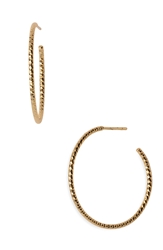 Argentovivo Textured Hoop Earrings Gold Vermeil