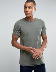 Esprit Slim Fit T Shirt With Pocket In Oil Wash Khaki 355 Green