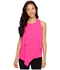 Vince Camuto Sleeveless Asymmetrical Layered Blouse Electric Pink Women's Blouse
