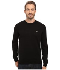 Lacoste Segment 1 Cotton Jersey Crew Neck Sweater Black Men's Sweater