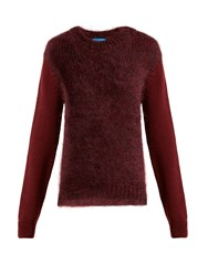 Mih Jeans Dawes Contrast Panel Wool Blend Sweater Burgundy