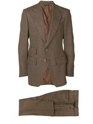 Tom Ford Houndstooth Two Piece Suit Brown