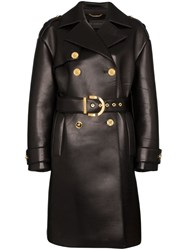 Versace Lambskin Leather Trench Coat Black