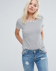 Vero Moda Ester Stripe T Shirt Snow White W. Black Multi