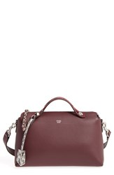Fendi 'Small By The Way' Calfskin Leather Shoulder Bag With Genuine Snakeskin Trim