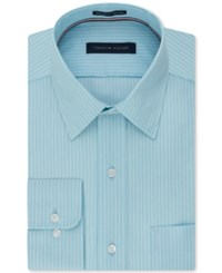 Tommy Hilfiger Men's Classic Fit Non Iron Blue Stripe Dress Shirt Aquamarine