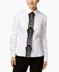 Tommy Hilfiger Crochet Trim Blouse White