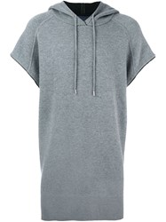 Juun.J Short Sleeve Long Fit Hoodie Grey