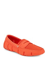 Swims Moc Toe Textured Penny Loafers Dark Coral