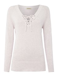 Repeat Cashmere V Neck Lace Up Jumper Pink