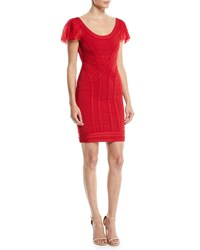 Herve Leger Off The Shoulder Tulle And Lace Body Con Cocktail Dress Red