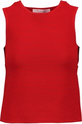 Jonathan Simkhai Cutout Ribbed Stretch Knit Tank Red
