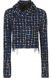 Haider Ackermann Cropped Wool Blend Boucle Tweed Blazer