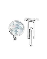 Bloomingdale's The Men's Store At Mother Of Pearl Circle Cufflinks 100 Exclusive Silver