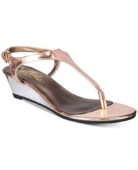 Callisto Spring Thong Wedge Sandals Women's Shoes Rose Gold