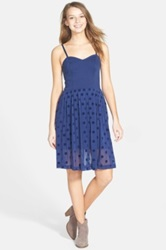 Frenchi Flocked Polka Dot Party Dress Juniors Blue