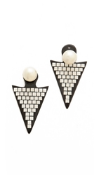 Ca And Lou Stella Earrings Black Gold