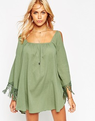 Asos Cold Shoulder Fringed Beach Cover Up Green