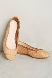 Anthropologie Lisa Conti Woven Ballet Flats Taupe