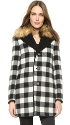Red Valentino Checkered Coat With Faux Fur Cream Black