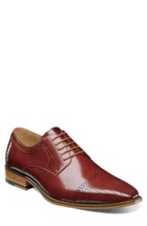 Stacy Adams Sanborn Perforated Cap Toe Derby Cognac Leather