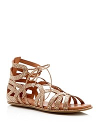 Gentle Souls Lace Up Gladiator Sandals Break My Heart Gold
