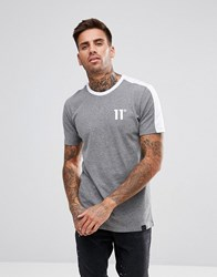 11 Degrees Muscle T Shirt In Grey With Contrast Back
