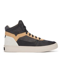 Diesel High Top White Camel And Black Leather Spaark Sneakers