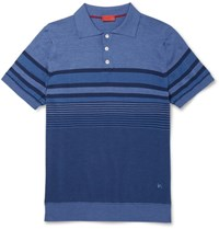 Isaia Striped Linen And Cotton Blend Polo Shirt Blue