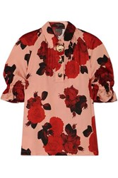 Mother Of Pearl Petra Embellished Floral Print Ruched Satin Blouse Pink