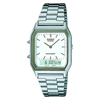 Casio Aq 230A 7Dmqyes Unisex Core Alarm Chronograph Combo Display Watch Silver