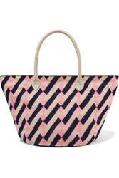 Sophie Anderson Celio Leather Trimmed Woven Tote Blush
