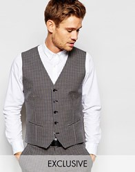 Selected Homme Exclusive Gingham Waistcoat In Skinny Fit Grey
