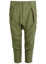 Nlst Olive Cropped Cotton Cargo Trousers