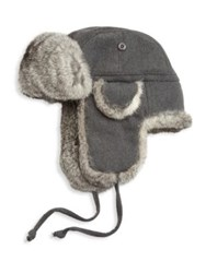 Saks Fifth Avenue Collection Rabbit Fur Aviator Hat Charcoal