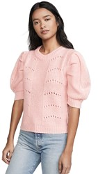 English Factory Short Puff Sleeve Sweater Pink