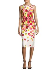 David Meister Floral Printed Dress Red Pink