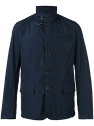 Fay Button Front Raincoat Blue