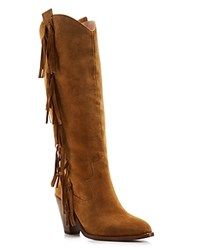 Ash Suede Fringe Tall Mid Heel Boots